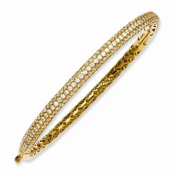 Sterling Silver Pav? Yellow-plated 175 Stone CZ Hinged Bangle