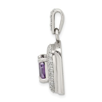 Sterling Silver CZ & Amethyst Square Pendant