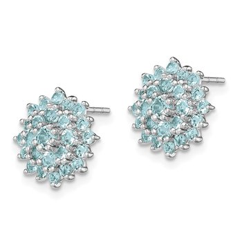 Sterling Silver Rhodium Plated Aquamarine Round Post Earrings