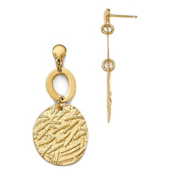 Leslie's Sterling Silver Gold-plated Polished Textured Earrings