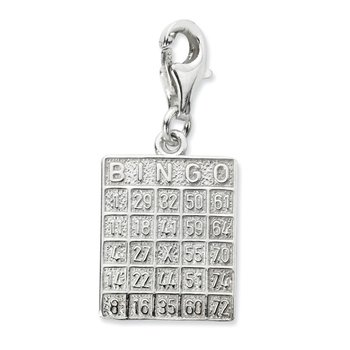 Sterling Silver Bingo Card w/Lobster Clasp Charm