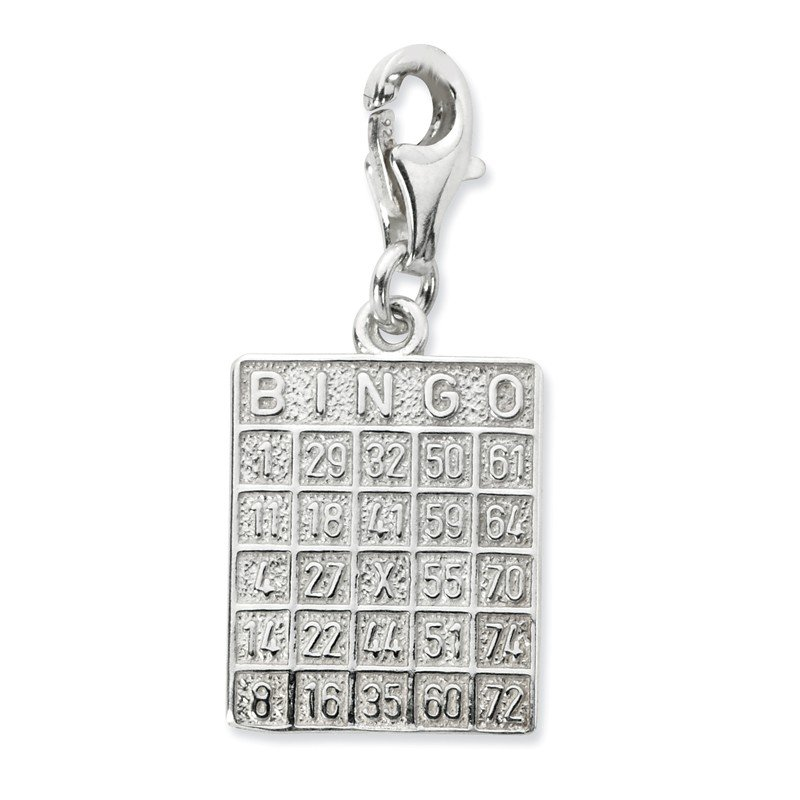 Quality Gold SS RH Bingo Card w/Lobster Clasp Charm
