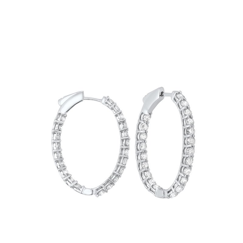 Gems One In-Out Prong Set Diamond Hoop Earrings in 14K White Gold (3 ct. tw.) I2/I3 - H/K