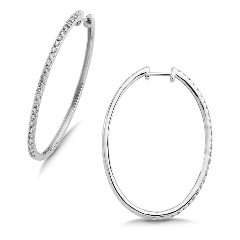 SDC Creations Pave set Slim Diamond Oval Hoops in 14k White Gold (1/2 ct. tw.) GH/SI1-SI2