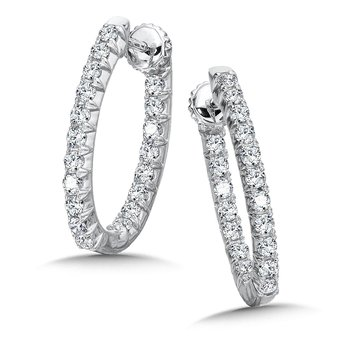 Locking Reflection Diamond Hoops in 14K White Gold with Platinum Post