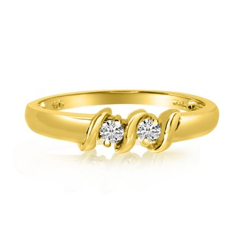 14K Yellow Gold S Design Two-Stone Diamond Ring