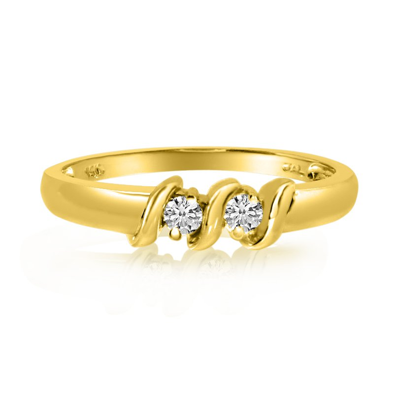 Color Merchants 14K Yellow Gold S Design Two-Stone Diamond Ring