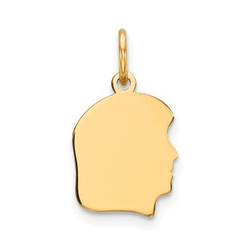 14k Plain Small .027 Gauge Facing Right Engravable Girl Head Charm
