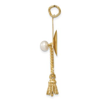 14k Graduation Cap with FW Cultured Pearl Charm