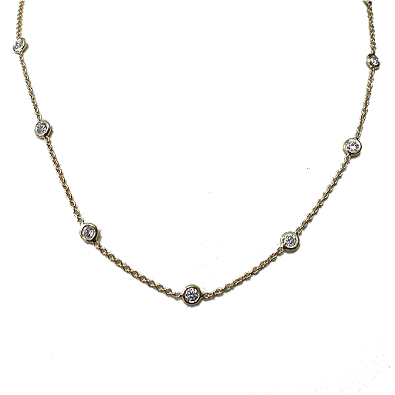 Roberto Coin 18KT GOLD 5 STATION DIAMOND NECKLACE