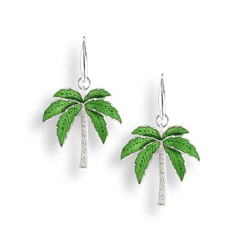 Green Palm Tree Wire Earrings.Sterling Silver