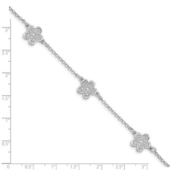 Sterling Silver Rhodium-plated Polished Filigree Flower Bracelet