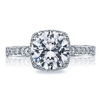 Dantela Round Platinum Engagement Ring