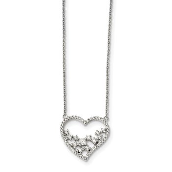 Sterling Silver CZ 18in Heart Necklace