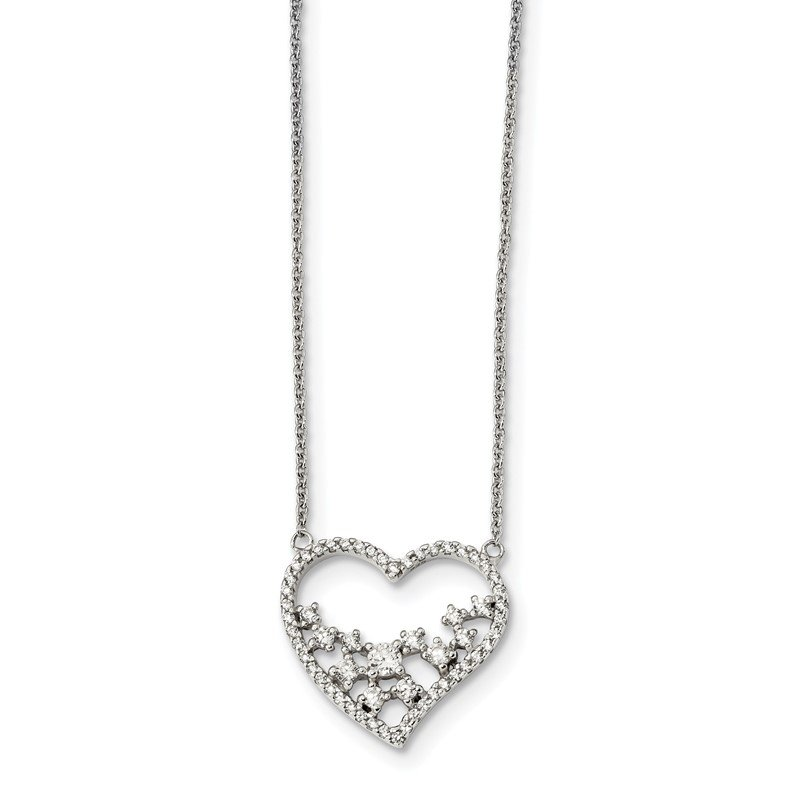 Arizona Diamond Center Collection Sterling Silver CZ 18in Heart Necklace