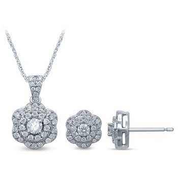 14K 0.73Ct Diamond Earring Pendant