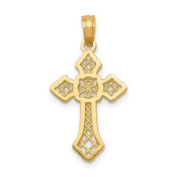 14K Polished Passion Cross W/Lace Center Pendant