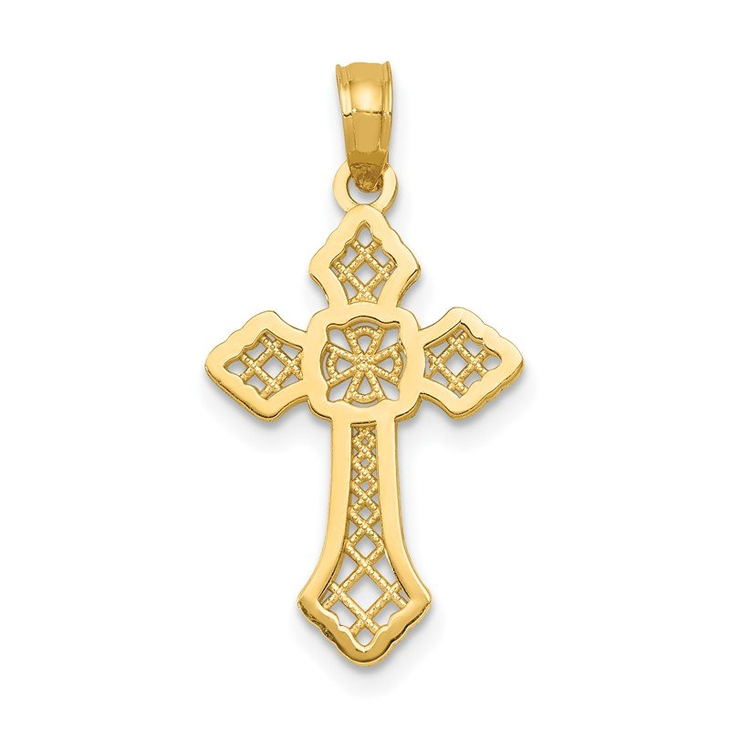Quality Gold 14K Polished Passion Cross W/Lace Center Pendant