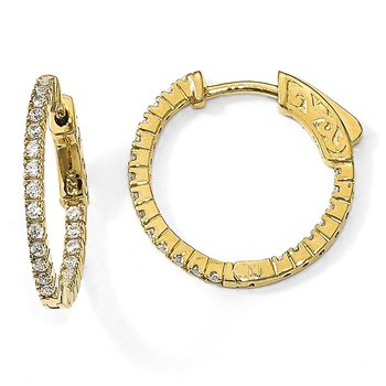 Sterling Silver Yellow-plated CZ In & Out Round Hoop Earrings