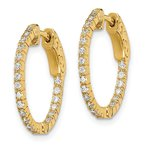 Quality Gold Sterling Silver Gold-tone CZ In & Out Round Hoop Earrings