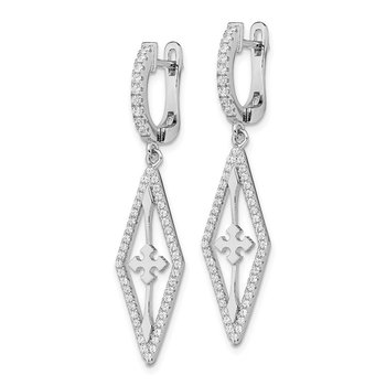 Sterling Silver Rhodium-plated CZ Dangle Earrings