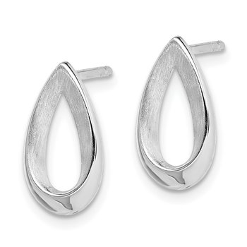 Sterling Silver RH-plated Polished Satin Teardrop Post Earrings