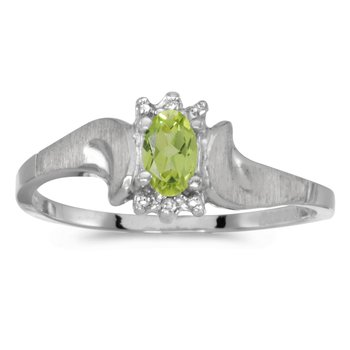 14k White Gold Oval Peridot And Diamond Satin Finish Ring