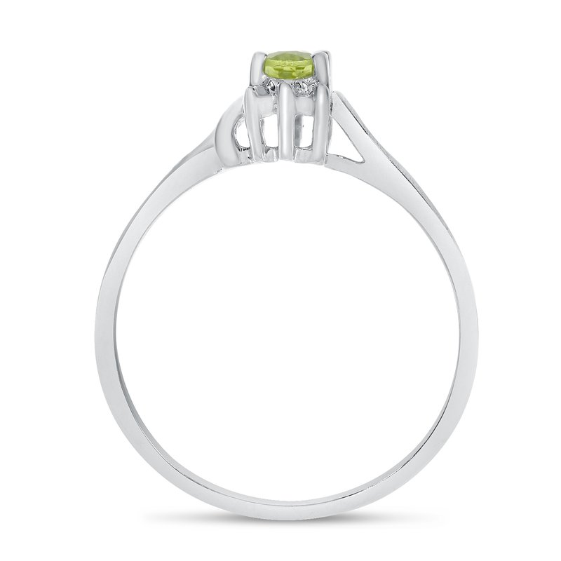 Color Merchants 14k White Gold Oval Peridot And Diamond Satin Finish Ring