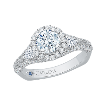 14K White Gold Round Diamond Halo Engagement Ring with Split Shank (Semi-Mount)