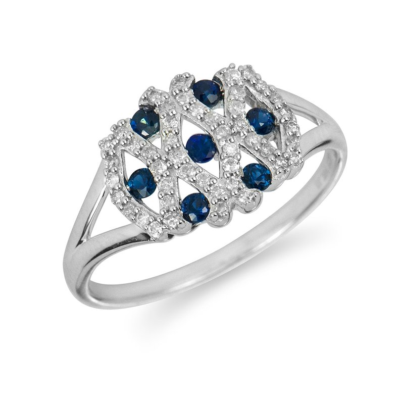 BB Impex 14K WG Diamond and Sapphire Ring