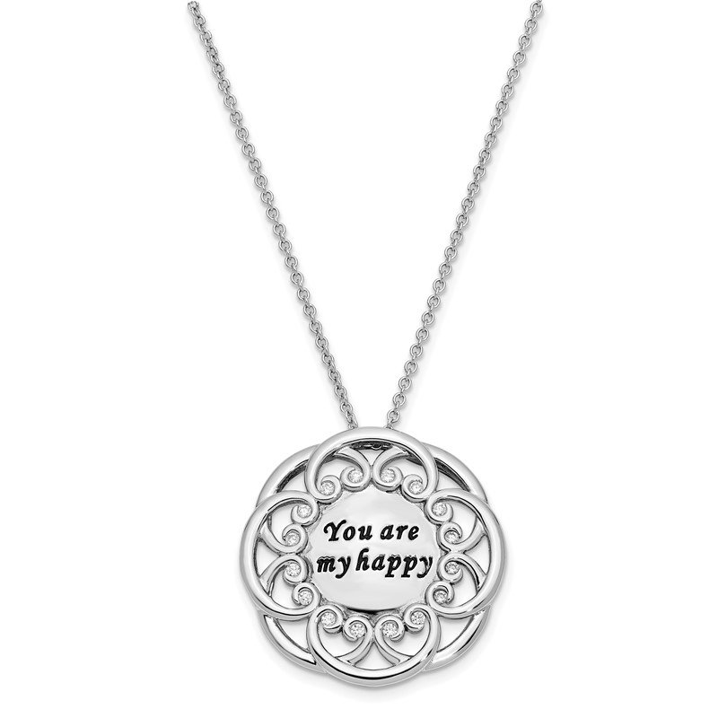 Sterling Silver CZ Antiqued You Are My Happy 18in. Necklace