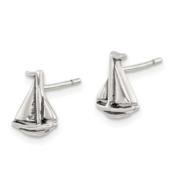 Sterling Silver Polished and Antiqued Sailboat Post Earrings