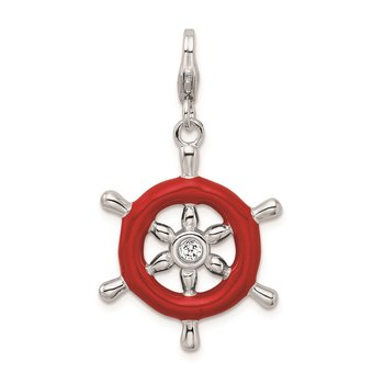 SS RH Enamel Swarovski Crystals Ship Wheel w/Lobster