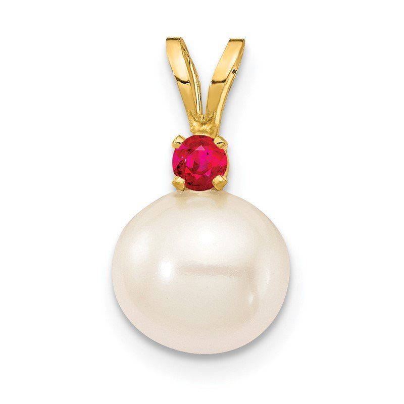 Quality Gold 14K Ruby 8-8.5mm White Round FWC Pearl Pendant