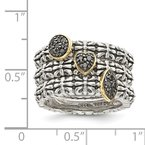 Shey Couture Sterling Silver w/14k Black Diamond 3 Stackable Rings