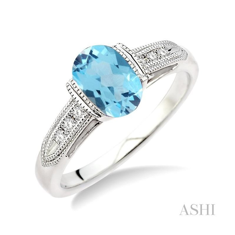 ASHI oval shape silver gemstone & diamond ring