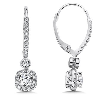 Diamond Drop Earrings with Cushion Halo in 14K White Gold with Platinum Post (1/2ct. tw.)