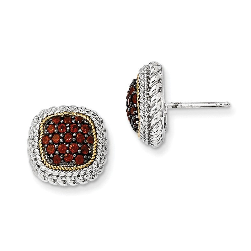 Shey Couture Sterling Silver w/14k and Black Rhodium Garnet Post Earrings