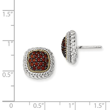 Sterling Silver w/14k and Black Rhodium Garnet Post Earrings
