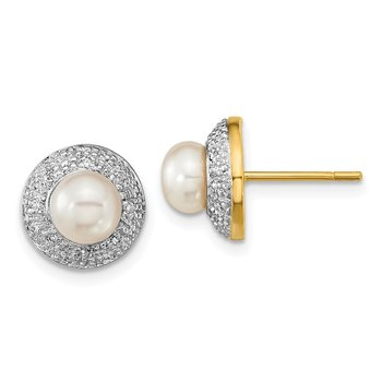 14k and Rhodium 5-6mm Button FWC Pearl .05ct Diamond Post Earrings