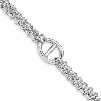 Sterling Silver Rhodium Plated Polished Fancy Bracelet