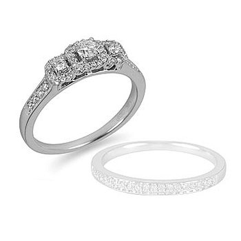 14K WG Diamond Engagement Ring PPF with Halo