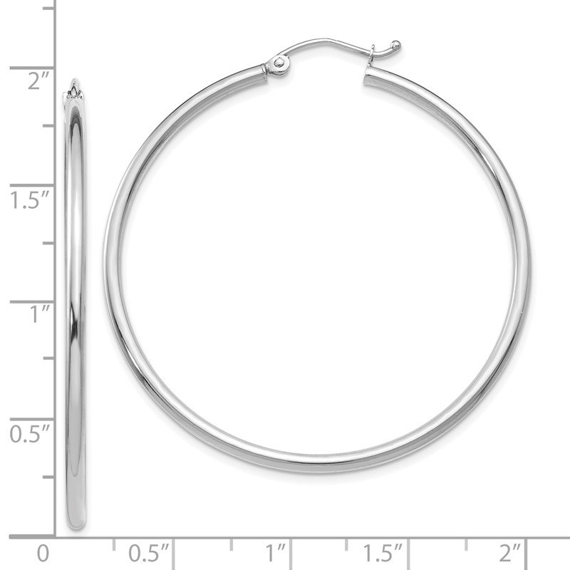 Leslie's Leslie's 14K White Gold Polished 2mm Hoop Earrings
