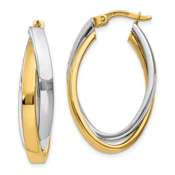 14K Two-tone Oval Hoop Earrings