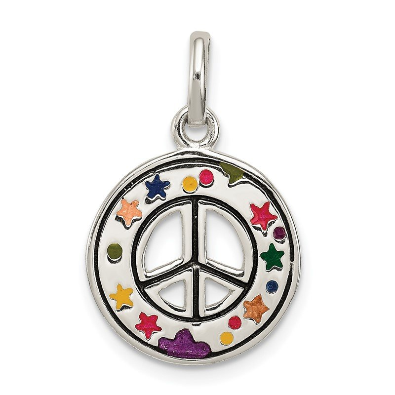 Quality Gold Sterling Silver Enameled Peace Sign Charm