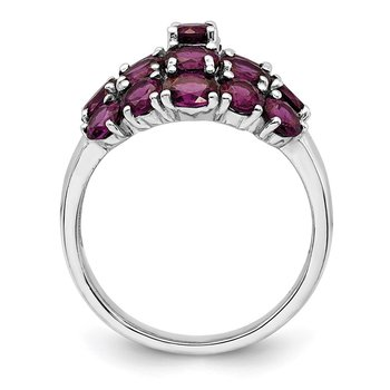 Sterling Silver Rhodium-plated Rhodolite Garnet Ring