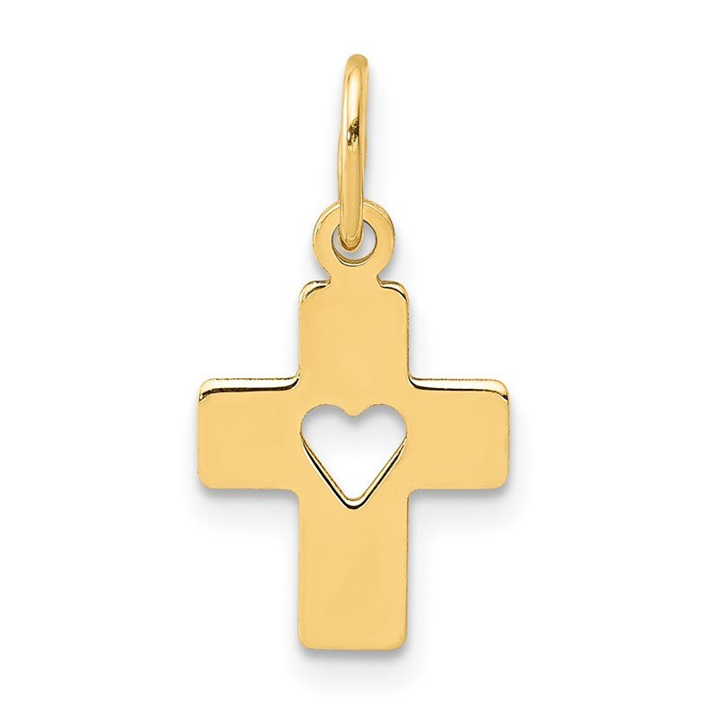 Quality Gold 14k Polished Cross with Heart Pendant