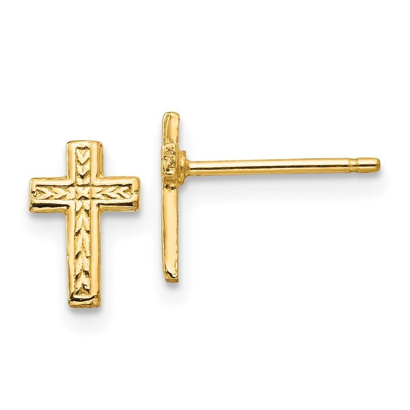 Quality Gold 14k Polished Cross Post Earrings