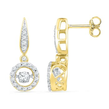 10kt Yellow Gold Womens Round Diamond Circle Frame Moving Twinkle Solitaire Dangle Earrings 5/8 Cttw