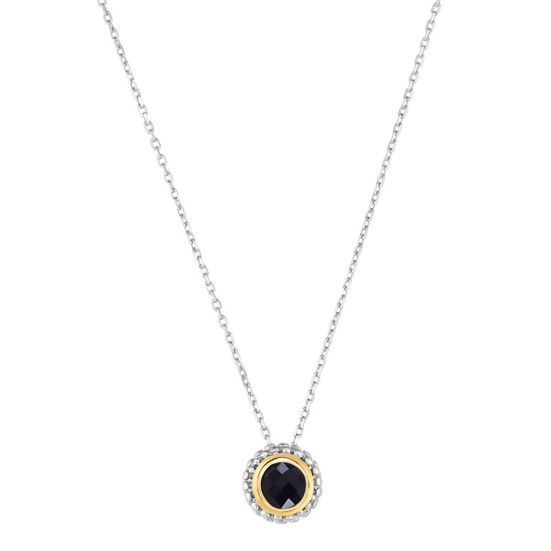 Royal Chain Sterling Silver & 18K Gold Popcorn Birthstone Pendant